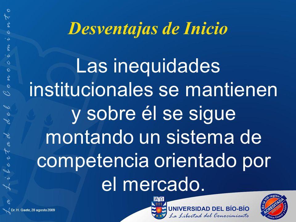 Desventajas de Inicio Las inequidades institucionales se mantienen y sobre él se sigue montando un sistema de competencia orientado por el mercado. Dr