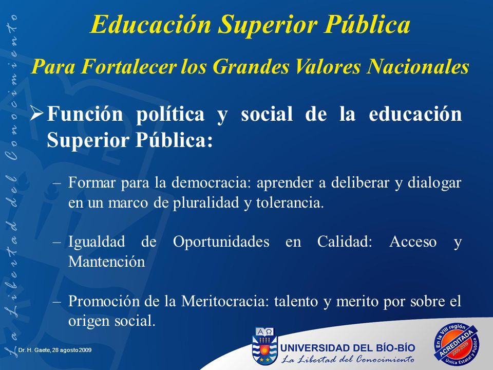 Dr. H. Gaete, 28 agosto 2009 Función política y social de la educación Superior Pública: –Formar para la democracia: aprender a deliberar y dialogar e