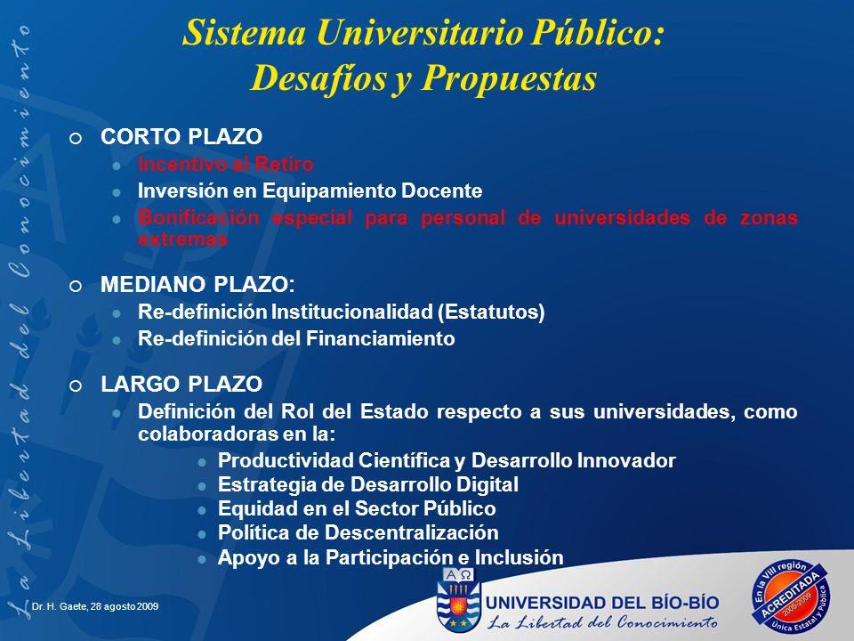 Sistema Universitario Público: Desafíos y Propuestas CORTO PLAZO Incentivo al Retiro Inversión en Equipamiento Docente Bonificación especial para pers