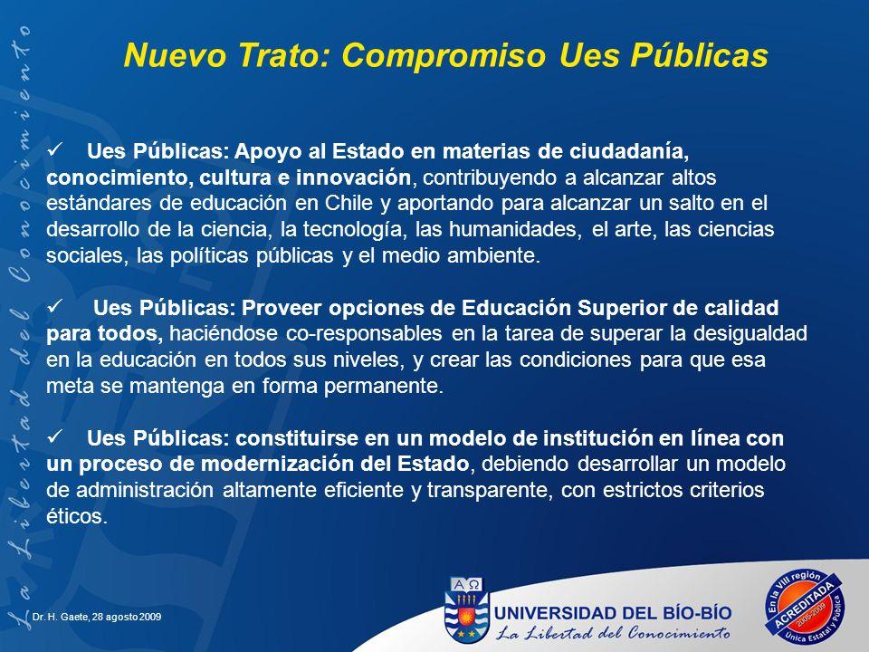 Dr. H. Gaete, 28 agosto 2009 Ues Públicas: Apoyo al Estado en materias de ciudadanía, conocimiento, cultura e innovación, contribuyendo a alcanzar alt