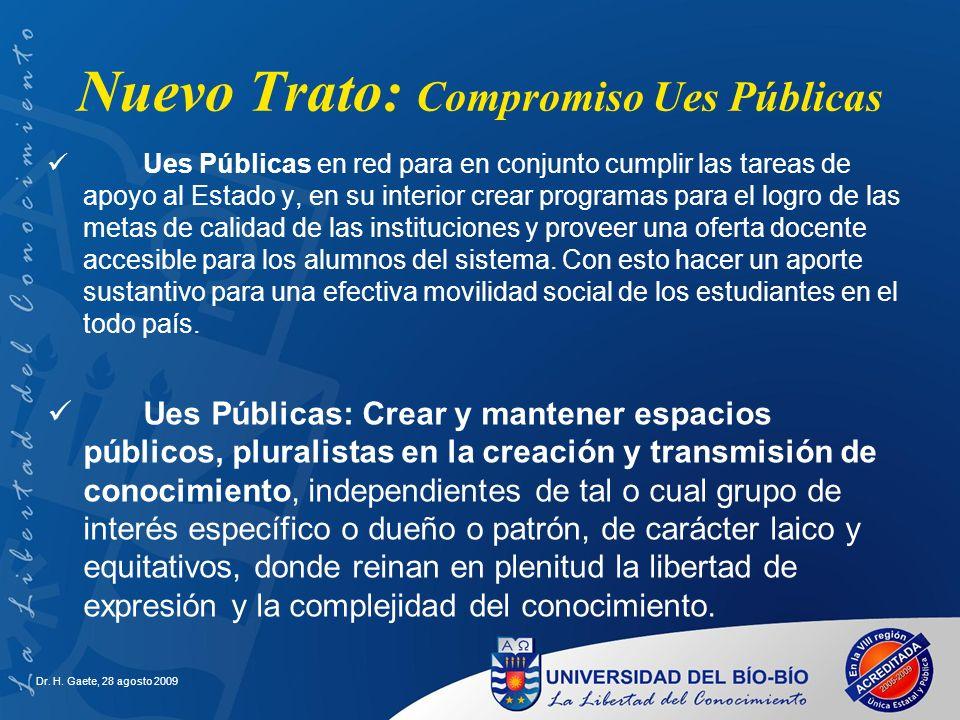 Dr. H. Gaete, 28 agosto 2009 Ues Públicas en red para en conjunto cumplir las tareas de apoyo al Estado y, en su interior crear programas para el logr