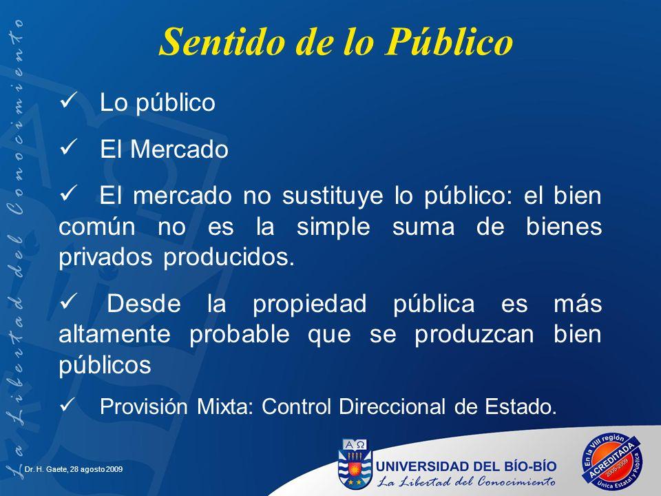 Sentido de lo Público Lo público El Mercado El mercado no sustituye lo público: el bien común no es la simple suma de bienes privados producidos. Desd
