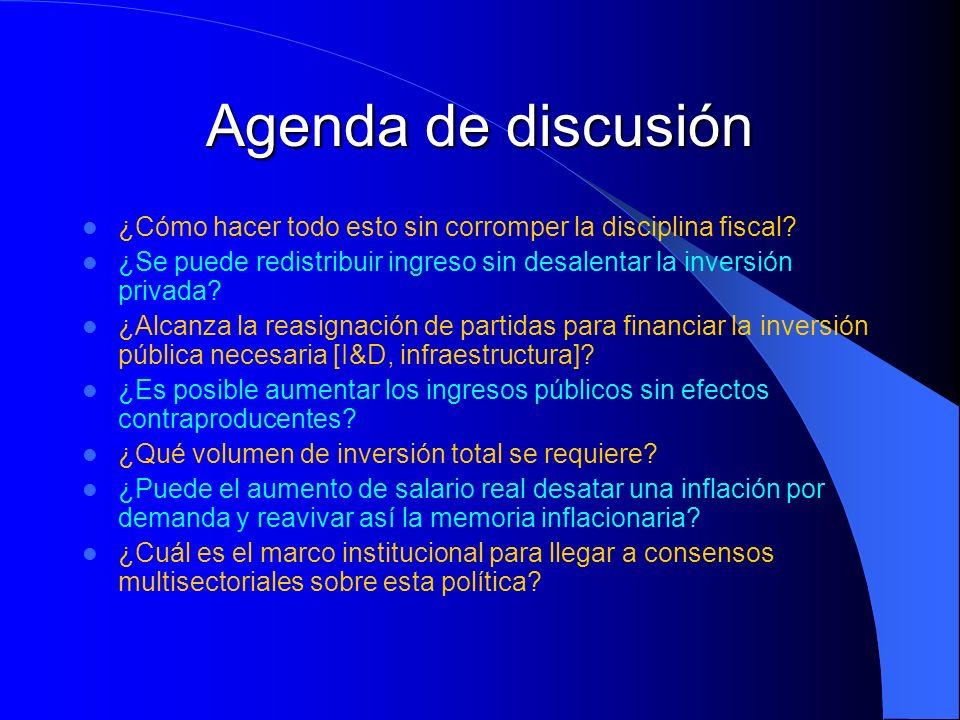 Agenda de discusión ¿Cómo hacer todo esto sin corromper la disciplina fiscal? ¿Se puede redistribuir ingreso sin desalentar la inversión privada? ¿Alc