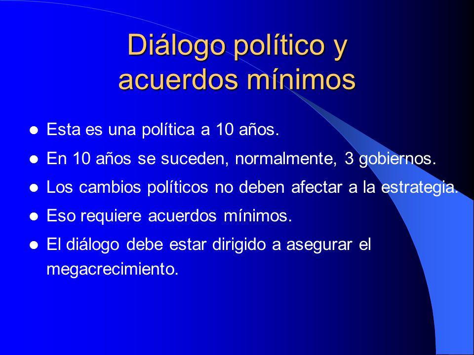 Diálogo político y acuerdos mínimos Esta es una política a 10 años. En 10 años se suceden, normalmente, 3 gobiernos. Los cambios políticos no deben af