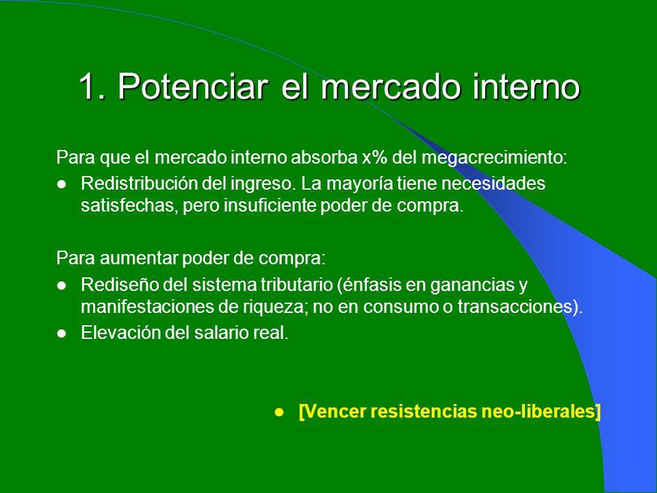 1. Potenciar el mercado interno Para que el mercado interno absorba x% del megacrecimiento: Redistribución del ingreso. La mayoría tiene necesidades s