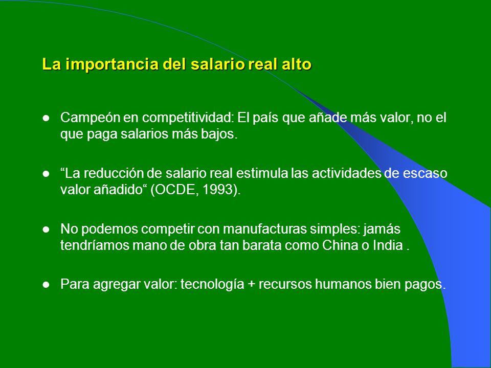 La importancia del salario real alto Campeón en competitividad: El país que añade más valor, no el que paga salarios más bajos. La reducción de salari