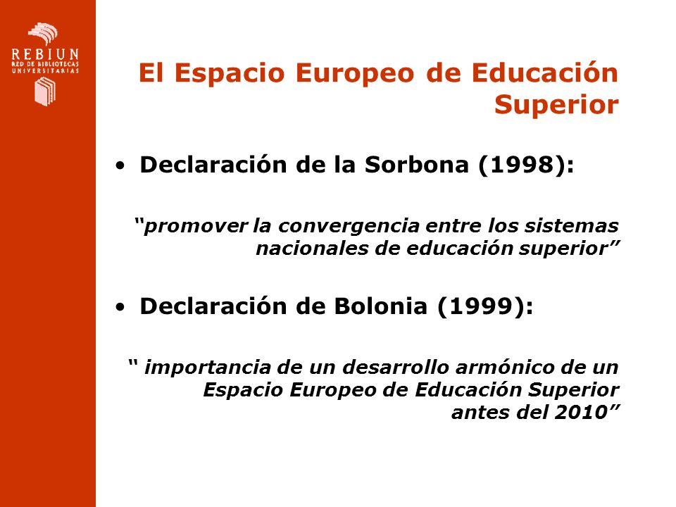 El Espacio Europeo de Educación Superior Declaración de la Sorbona (1998): promover la convergencia entre los sistemas nacionales de educación superio