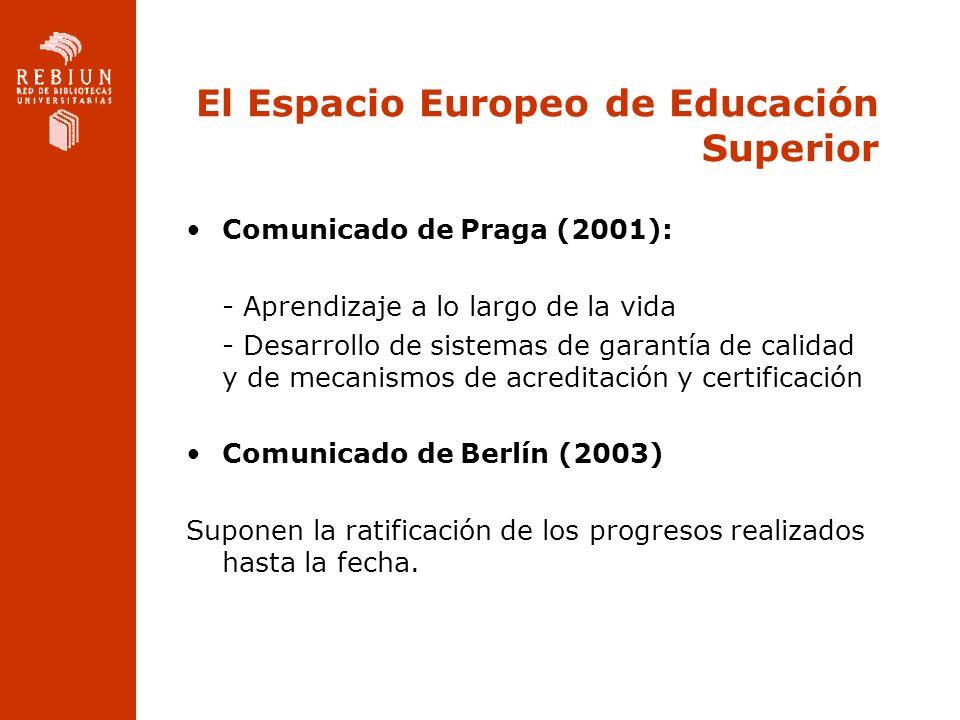 El Espacio Europeo de Educación Superior Comunicado de Praga (2001): - Aprendizaje a lo largo de la vida - Desarrollo de sistemas de garantía de calid