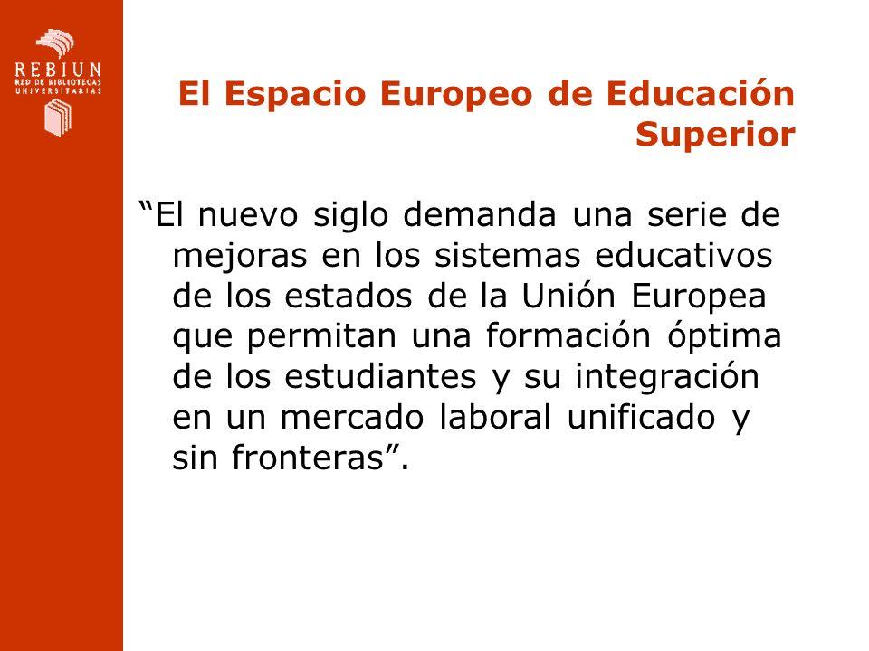 El Espacio Europeo de Educación Superior El nuevo siglo demanda una serie de mejoras en los sistemas educativos de los estados de la Unión Europea que