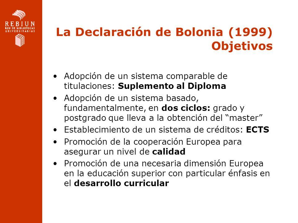 La Declaración de Bolonia (1999) Objetivos Adopción de un sistema comparable de titulaciones: Suplemento al Diploma Adopción de un sistema basado, fun