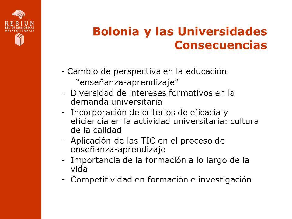 Bolonia y las Universidades Consecuencias - Cambio de perspectiva en la educación : enseñanza-aprendizaje -Diversidad de intereses formativos en la de