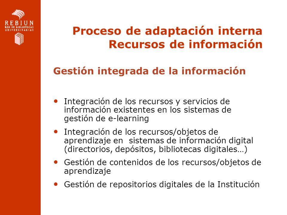 Proceso de adaptación interna Recursos de información Gestión integrada de la información Integración de los recursos y servicios de información exist