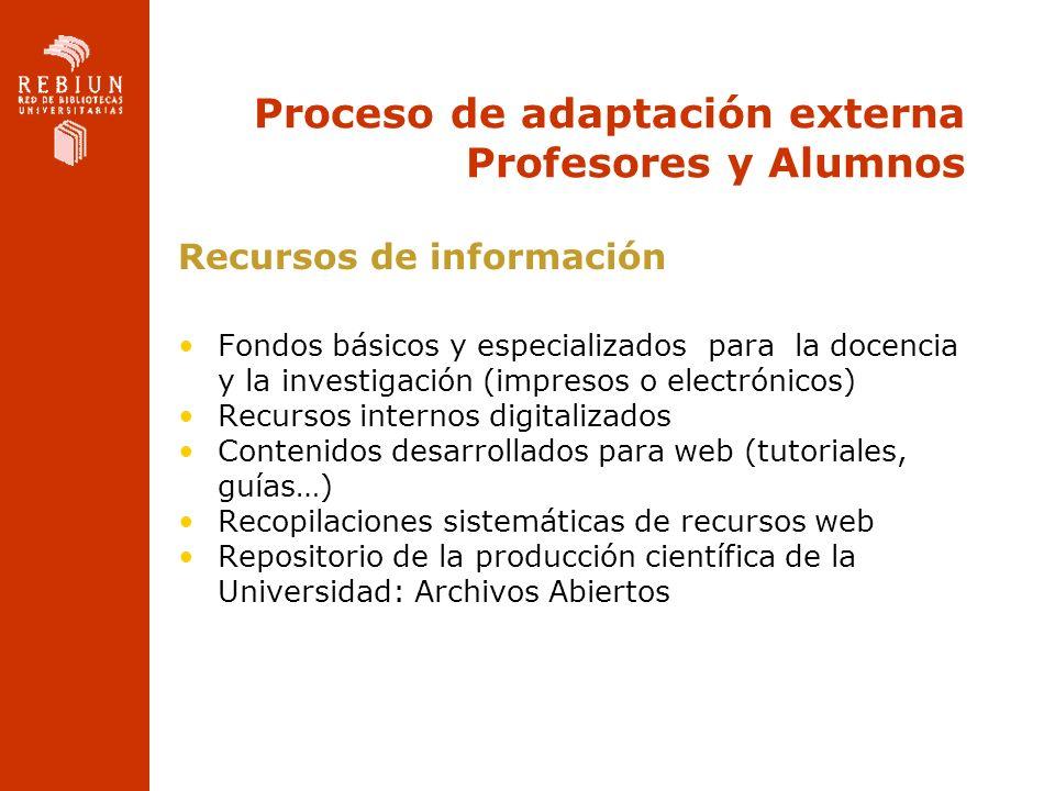 Proceso de adaptación externa Profesores y Alumnos Recursos de información Fondos básicos y especializados para la docencia y la investigación (impres