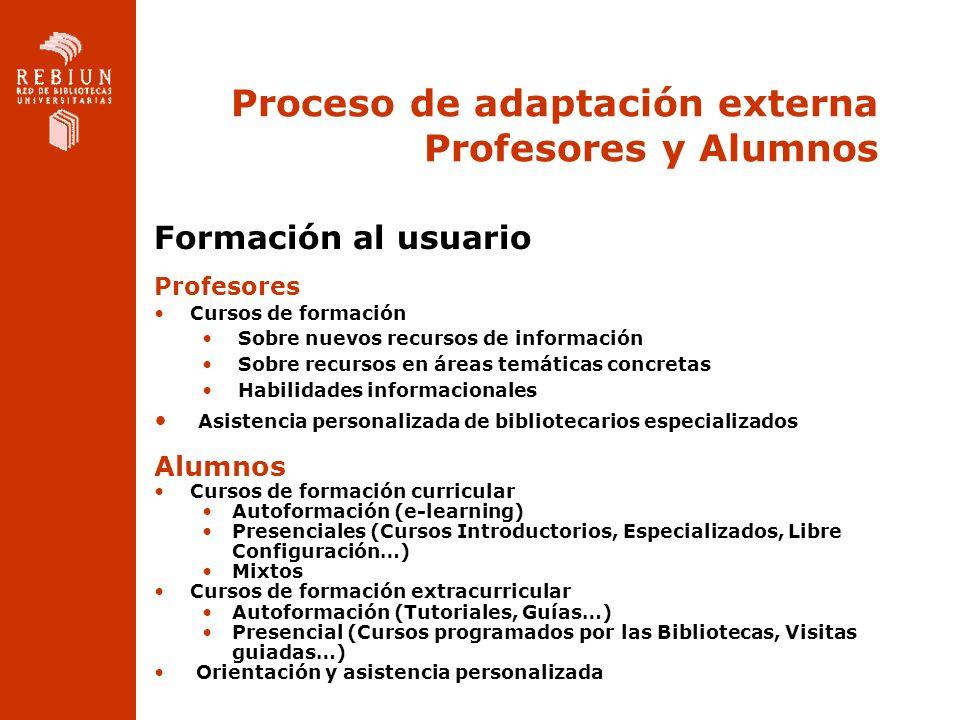 Proceso de adaptación externa Profesores y Alumnos Formación al usuario Profesores Cursos de formación Sobre nuevos recursos de información Sobre recu