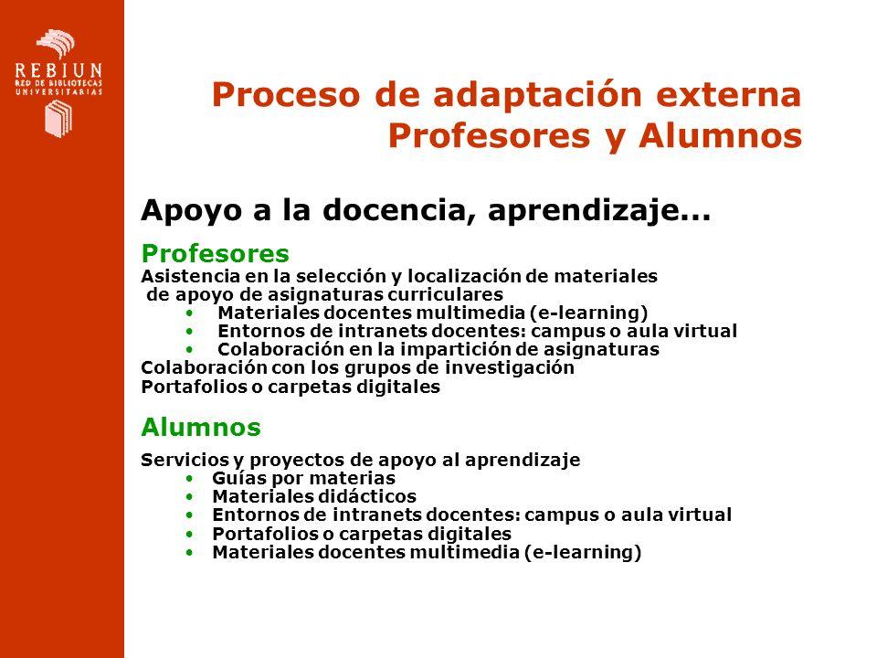 Proceso de adaptación externa Profesores y Alumnos Apoyo a la docencia, aprendizaje... Profesores Asistencia en la selección y localización de materia