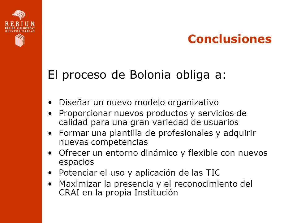 Conclusiones El proceso de Bolonia obliga a: Diseñar un nuevo modelo organizativo Proporcionar nuevos productos y servicios de calidad para una gran v