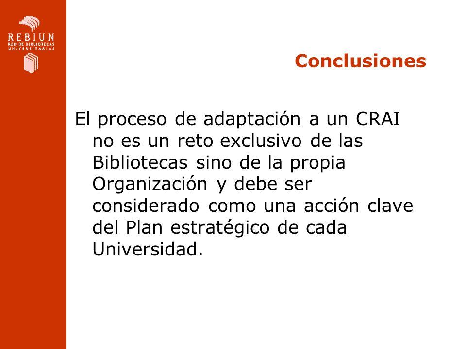 Conclusiones El proceso de adaptación a un CRAI no es un reto exclusivo de las Bibliotecas sino de la propia Organización y debe ser considerado como