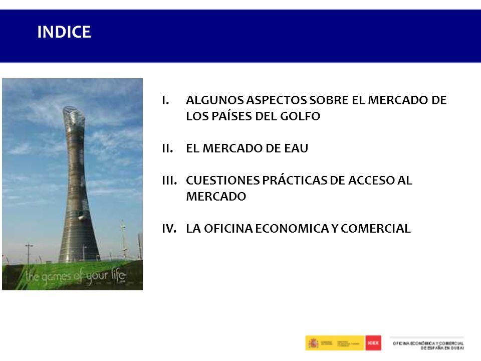 I.ALGUNOS ASPECTOS SOBRE EL MERCADO DE LOS PAÍSES DEL GOLFO II.EL MERCADO DE EAU III.CUESTIONES PRÁCTICAS DE ACCESO AL MERCADO IV.LA OFICINA ECONOMICA Y COMERCIAL INDICE