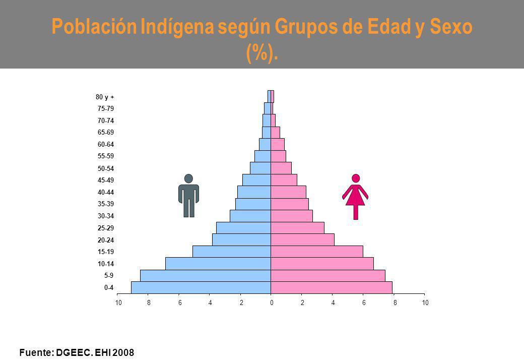 Población Indígena según Grupos de Edad y Sexo (%). Fuente: DGEEC. EHI 2008 10864202468 0-4 5-9 10-14 15-19 20-24 25-29 30-34 35-39 40-44 45-49 50-54