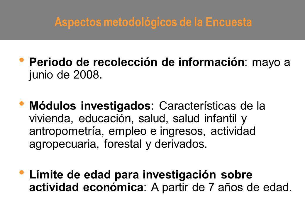 Periodo de recolección de información: mayo a junio de 2008. Módulos investigados: Características de la vivienda, educación, salud, salud infantil y