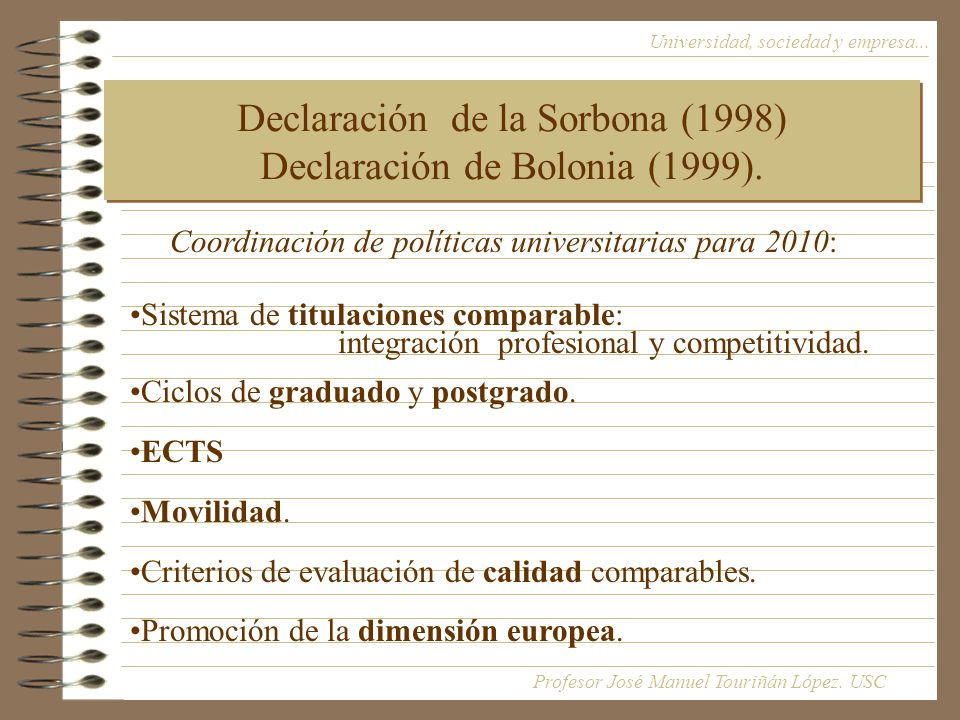 Declaración de la Sorbona (1998) Declaración de Bolonia (1999).