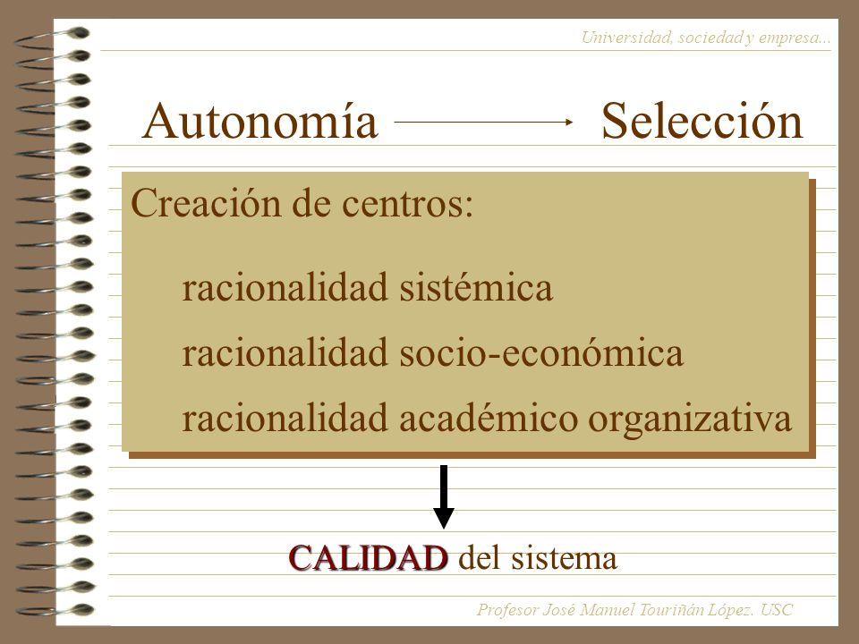 Autonomía Selección Universidad, sociedad y empresa...