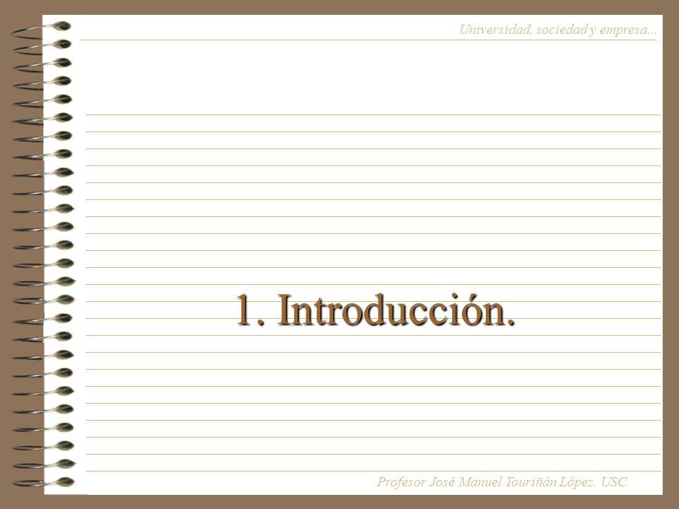 1. Introducción. Universidad, sociedad y empresa... Profesor José Manuel Touriñán López. USC
