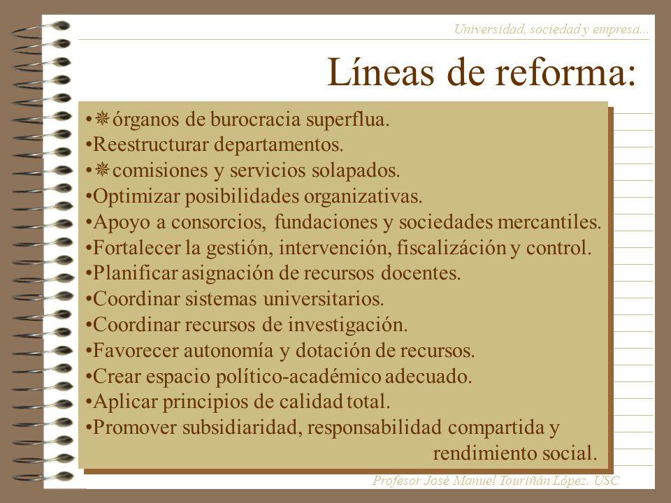 Líneas de reforma: Universidad, sociedad y empresa...