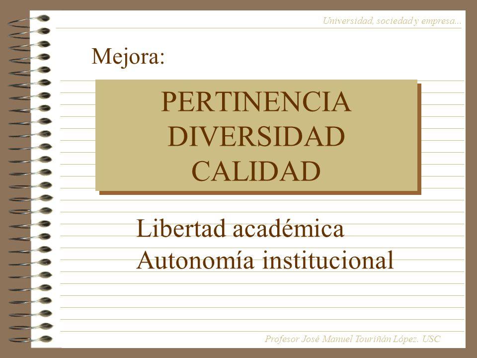PERTINENCIA DIVERSIDAD CALIDAD Universidad, sociedad y empresa...