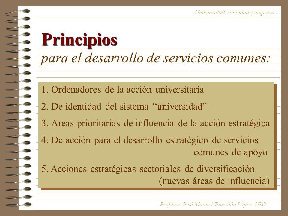 Principios Principios para el desarrollo de servicios comunes: Universidad, sociedad y empresa...