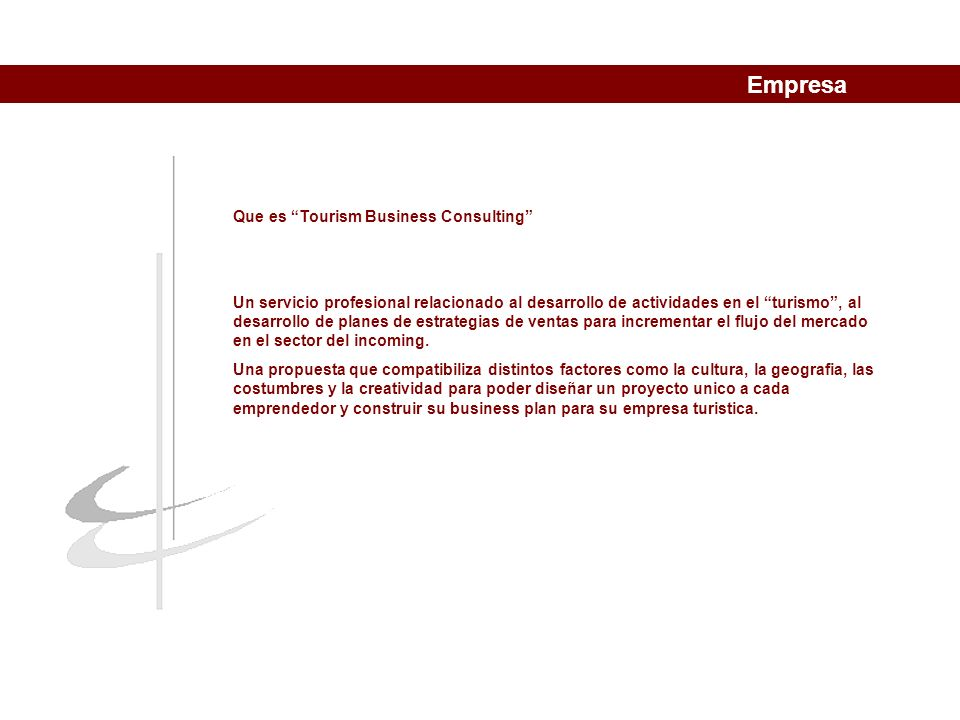 objetivos TOURISM BUSINESS CONSULTING