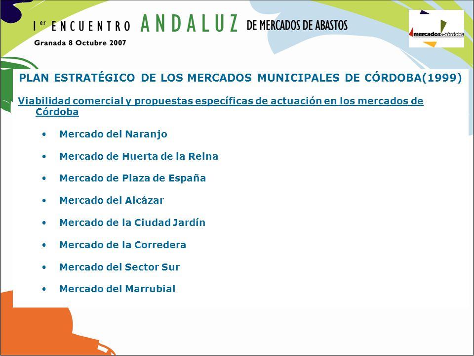 PLAN ESTRATÉGICO DE LOS MERCADOS MUNICIPALES DE CÓRDOBA(1999) Viabilidad comercial y propuestas específicas de actuación en los mercados de Córdoba Me
