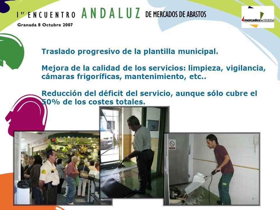 Traslado progresivo de la plantilla municipal. Mejora de la calidad de los servicios: limpieza, vigilancia, cámaras frigoríficas, mantenimiento, etc..