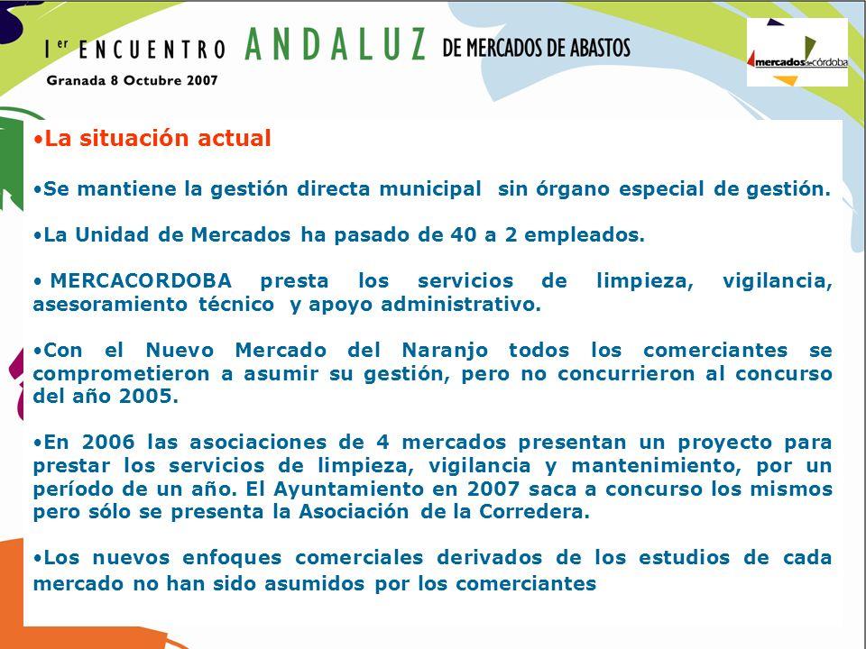 La situación actual Se mantiene la gestión directa municipal sin órgano especial de gestión. La Unidad de Mercados ha pasado de 40 a 2 empleados. MERC