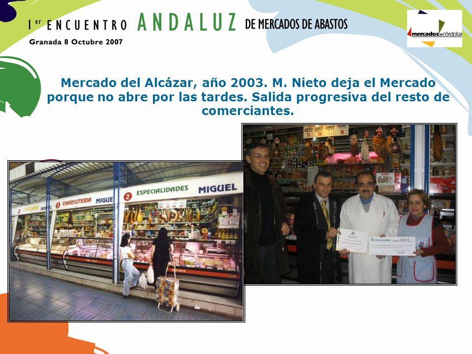 Mercado del Alcázar, año 2003. M. Nieto deja el Mercado porque no abre por las tardes. Salida progresiva del resto de comerciantes.