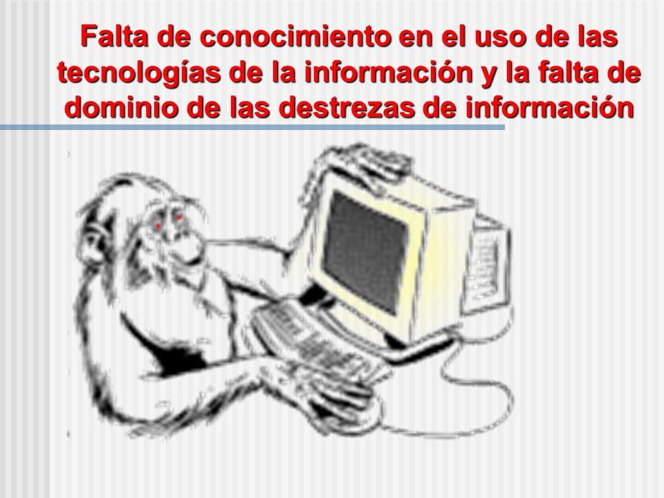 Falta de conocimiento en el uso de las tecnologías de la información y la falta de dominio de las destrezas de información