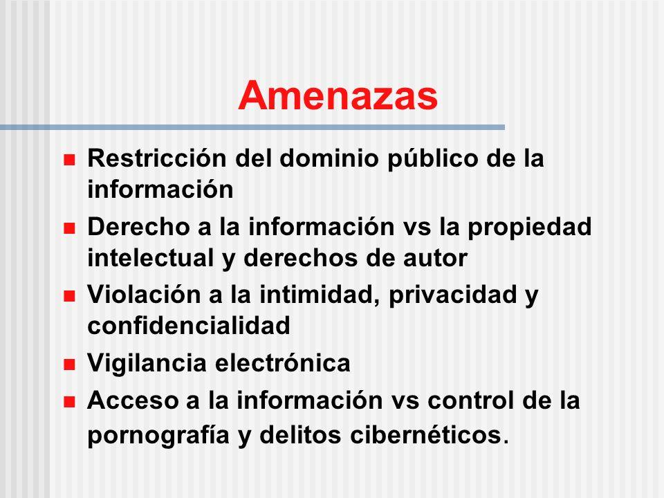 Amenazas Restricción del dominio público de la información Derecho a la información vs la propiedad intelectual y derechos de autor Violación a la intimidad, privacidad y confidencialidad Vigilancia electrónica Acceso a la información vs control de la pornografía y delitos cibernéticos.