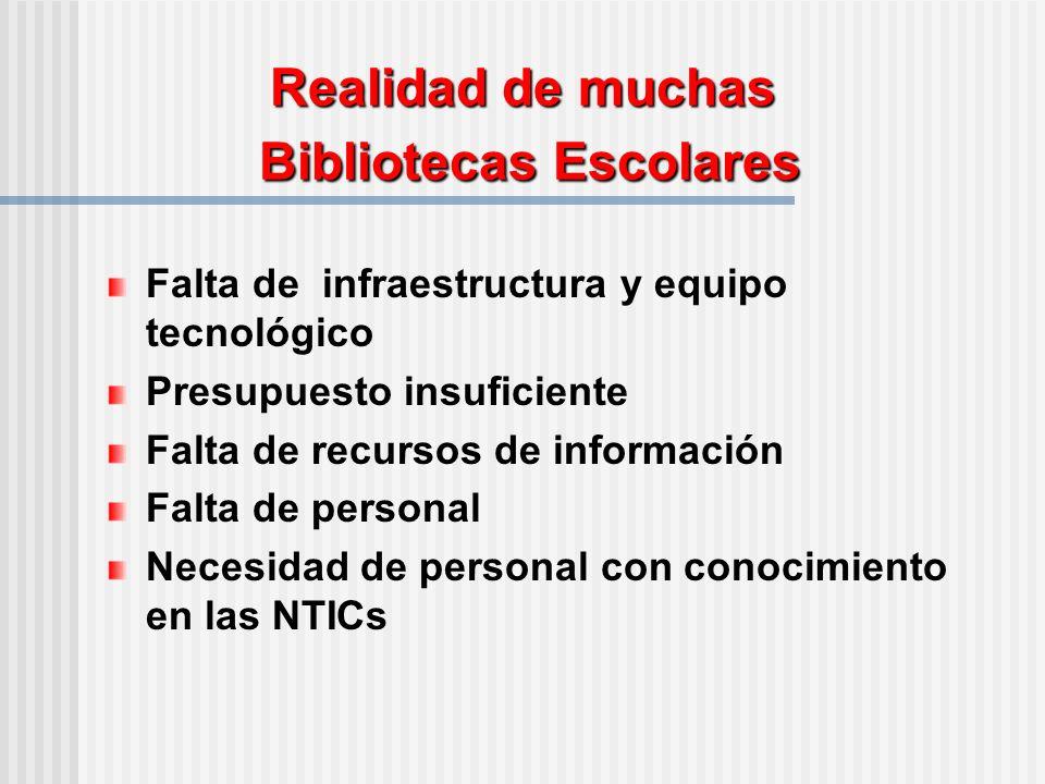 Realidad de muchas Bibliotecas Escolares Falta de infraestructura y equipo tecnológico Presupuesto insuficiente Falta de recursos de información Falta de personal Necesidad de personal con conocimiento en las NTICs
