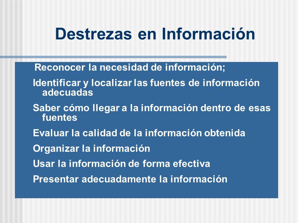 Destrezas en Información Reconocer la necesidad de información; Identificar y localizar las fuentes de información adecuadas Saber cómo llegar a la información dentro de esas fuentes Evaluar la calidad de la información obtenida Organizar la información Usar la información de forma efectiva Presentar adecuadamente la información