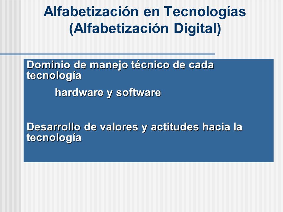 Alfabetización en Tecnologías (Alfabetización Digital) Dominio de manejo técnico de cada tecnología hardware y software Desarrollo de valores y actitudes hacia la tecnología