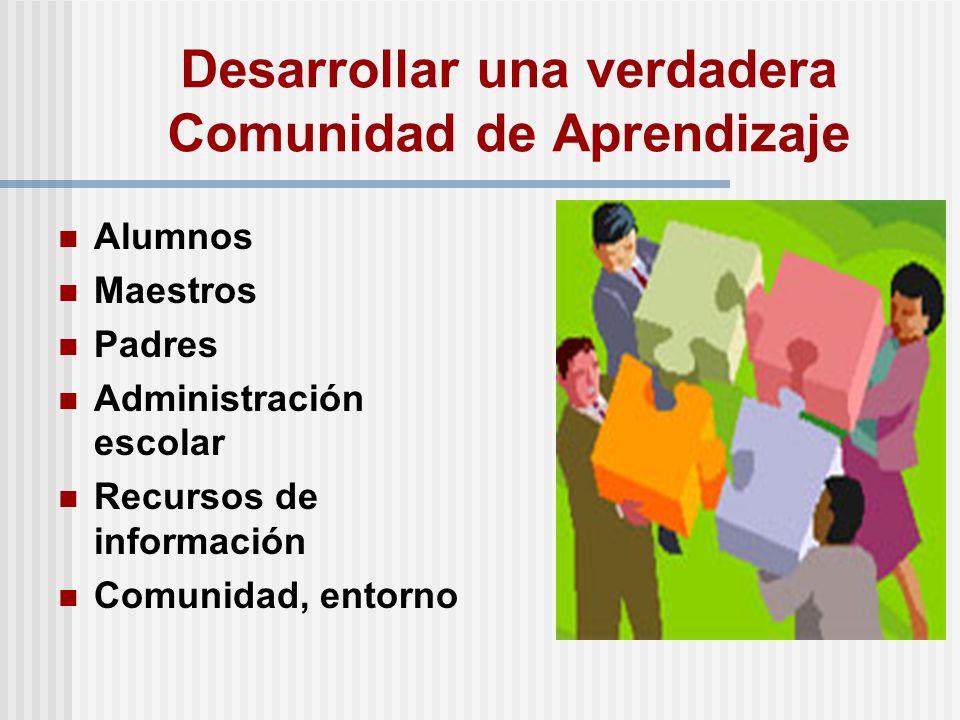 Desarrollar una verdadera Comunidad de Aprendizaje Alumnos Maestros Padres Administración escolar Recursos de información Comunidad, entorno