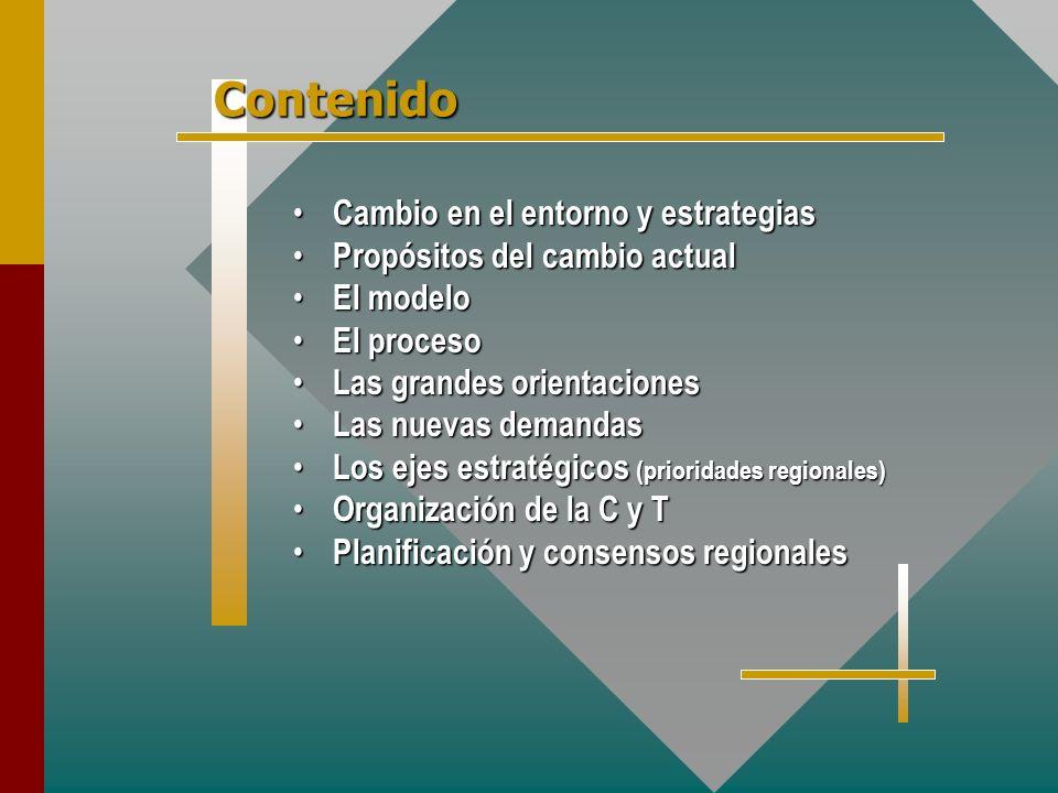 Cambio en el entorno y estrategias Cambio en el entorno y estrategias Propósitos del cambio actual Propósitos del cambio actual El modelo El modelo El proceso El proceso Las grandes orientaciones Las grandes orientaciones Las nuevas demandas Las nuevas demandas Los ejes estratégicos (prioridades regionales) Los ejes estratégicos (prioridades regionales) Organización de la C y T Organización de la C y T Planificación y consensos regionales Planificación y consensos regionales Contenido