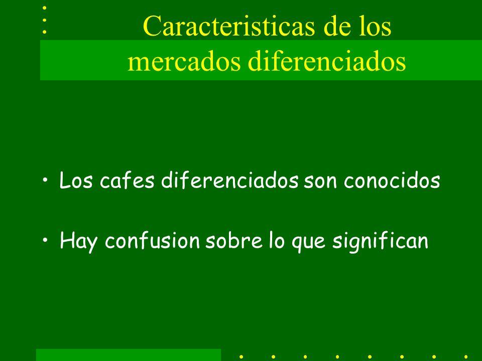 Caracteristicas de los mercados diferenciados Los cafes diferenciados son conocidos Hay confusion sobre lo que significan