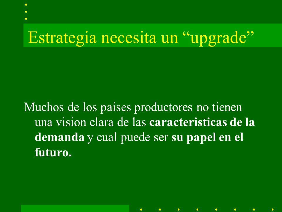 Estrategia necesita un upgrade Muchos de los paises productores no tienen una vision clara de las caracteristicas de la demanda y cual puede ser su papel en el futuro.