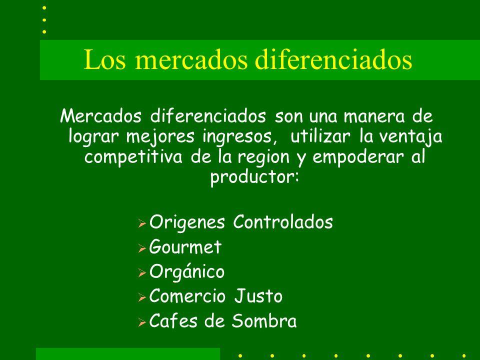 Los mercados diferenciados Mercados diferenciados son una manera de lograr mejores ingresos, utilizar la ventaja competitiva de la region y empoderar al productor: Origenes Controlados Gourmet Orgánico Comercio Justo Cafes de Sombra