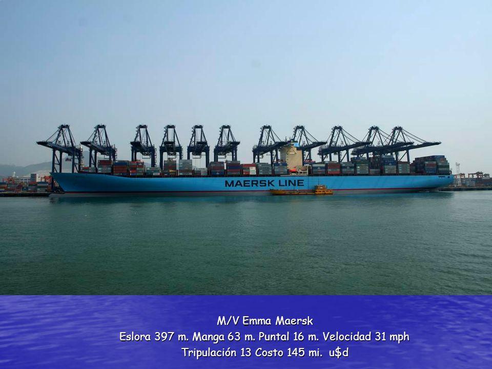 M/V Emma Maersk Eslora 397 m. Manga 63 m. Puntal 16 m. Velocidad 31 mph Tripulación 13 Costo 145 mi. u$d