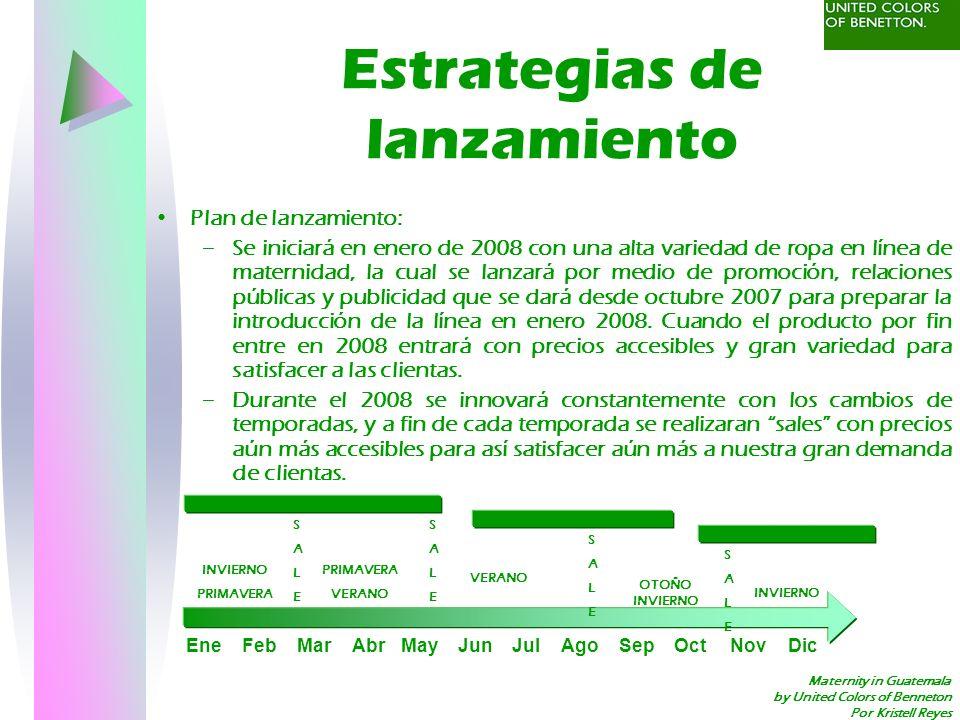 Maternity in Guatemala by United Colors of Benneton Por Kristell Reyes Estrategias de lanzamiento Plan de lanzamiento: –Se iniciará en enero de 2008 c