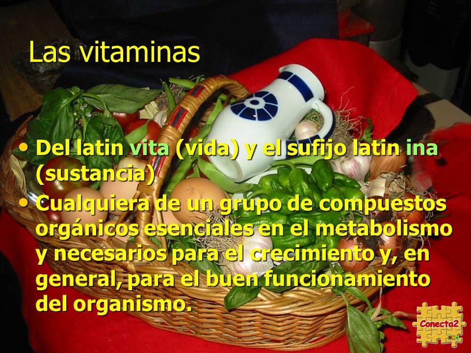 Las vitaminas Del latin vita (vida) y el sufijo latin ina (sustancia) Del latin vita (vida) y el sufijo latin ina (sustancia) Cualquiera de un grupo de compuestos orgánicos esenciales en el metabolismo y necesarios para el crecimiento y, en general, para el buen funcionamiento del organismo.