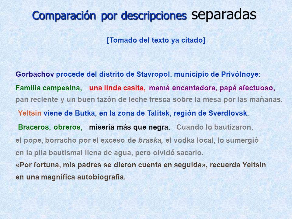 Comparación por descripciones Comparación por descripciones separadas [Tomado del texto ya citado] Gorbachov procede del distrito de Stavropol, munici