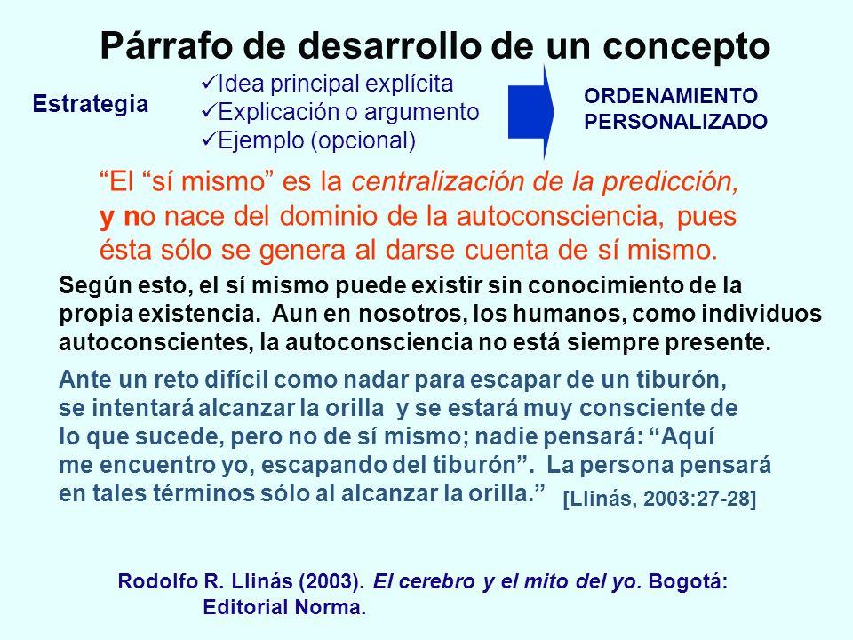 Párrafo de desarrollo de un concepto Idea principal explícita Explicación o argumento Ejemplo (opcional) El sí mismo es la centralización de la predic